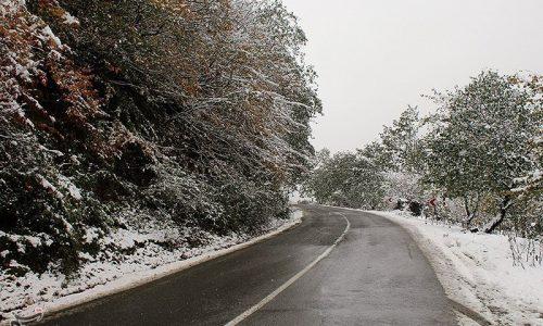 بارش برف و باران در جادههای ۹ استان بارش برف در جاده چالوس؛ «پیچ سرهنگ» سفید شد