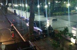 ه علت سرعت زیاد رخ داد؛ تصادف خودرو در سبزه میدان رشت آتشنشانان را به محل حادثه کشاند