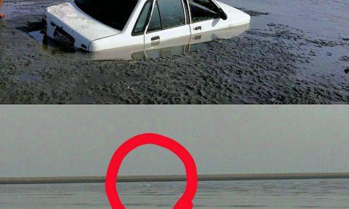 غرق شدن پراید در سواحل بندرعباس