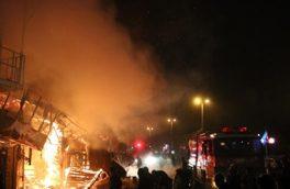 آتش سوزی در پیربازار رشت