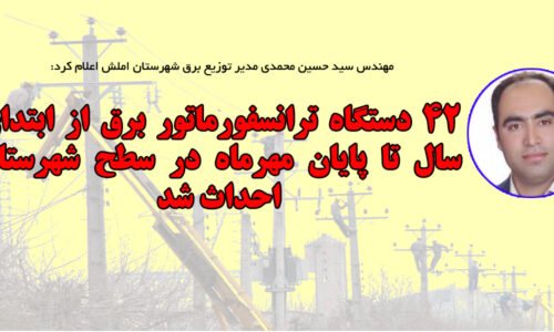 مهندس سید حسین محمدی مدیر توزیع برق شهرستان املش اعلام کرد: ۴۲ دستگاه ترانسفورماتور برق از ابتدای سال تا پایان مهرماه در سطح شهرستان نصب شد