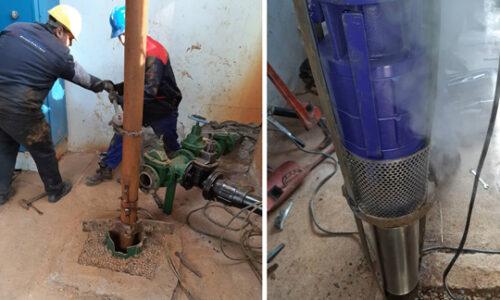 تعویض پمپ چاه شماره ۲ تاسیسات آبرسانی شهر فومن